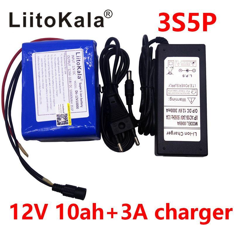 LiitoKala Large capacity 12V 10Ah 18650 lithium battery protection board 12.6v 10000mah capacity+ 12V 3A battery Charger
