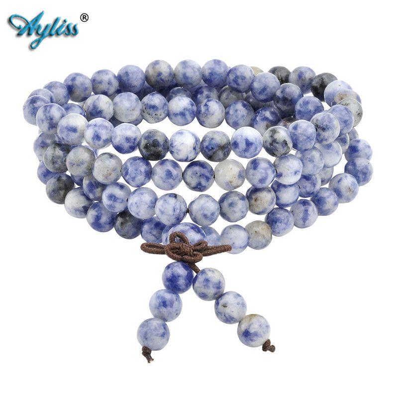 Ayliss chaud 6mm 8mm naturel Sodalite pierre de guérison pierre gemme 108 bouddhiste prière perles tibétain Mala extensible Bracelet collier 1 pc