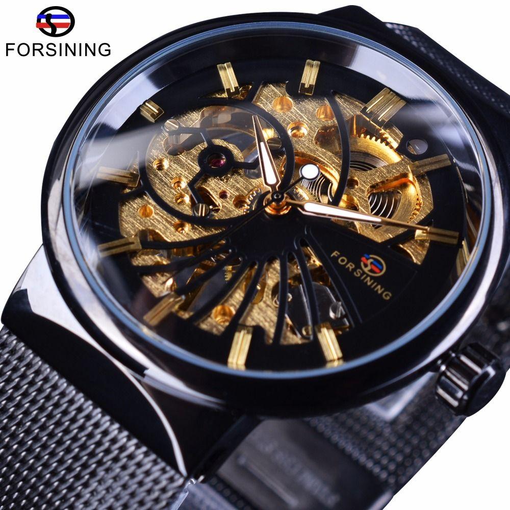 Forsining 2017 mode luxe mince petit cadran unisexe Design étanche montres hommes de luxe marque squelette montre homme montre-bracelet