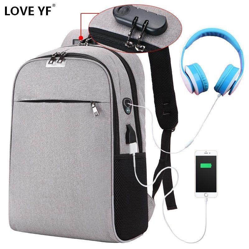 Sacs à dos de mot de passe antivol USB pour adolescent sac de voyage léger pour hommes et femmes sac d'école pour ordinateur portable sac à bandoulière mochilas de escola