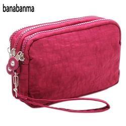 Banabanma señora carteras y monederos cartera paquete 3 capas Cruz sección embrague gran capacidad mejor regalo ZK28