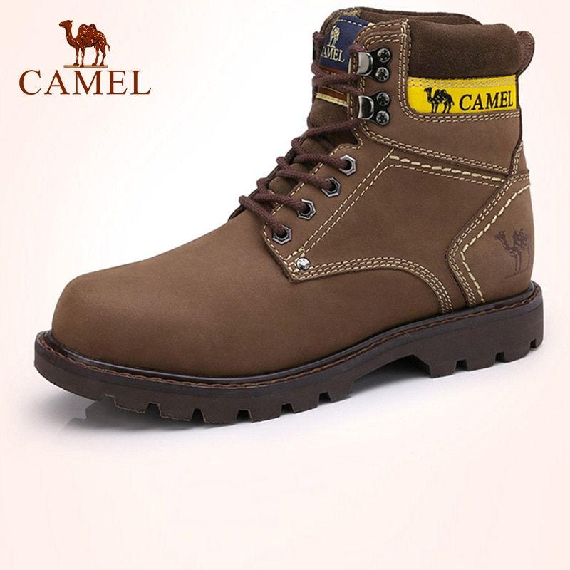 CAMEL Men's Boots Winter Casual Skid High-top Men's Scrub Genuine Leather Lace-up Ankle Tooling Boots Fashion Yellow Boats