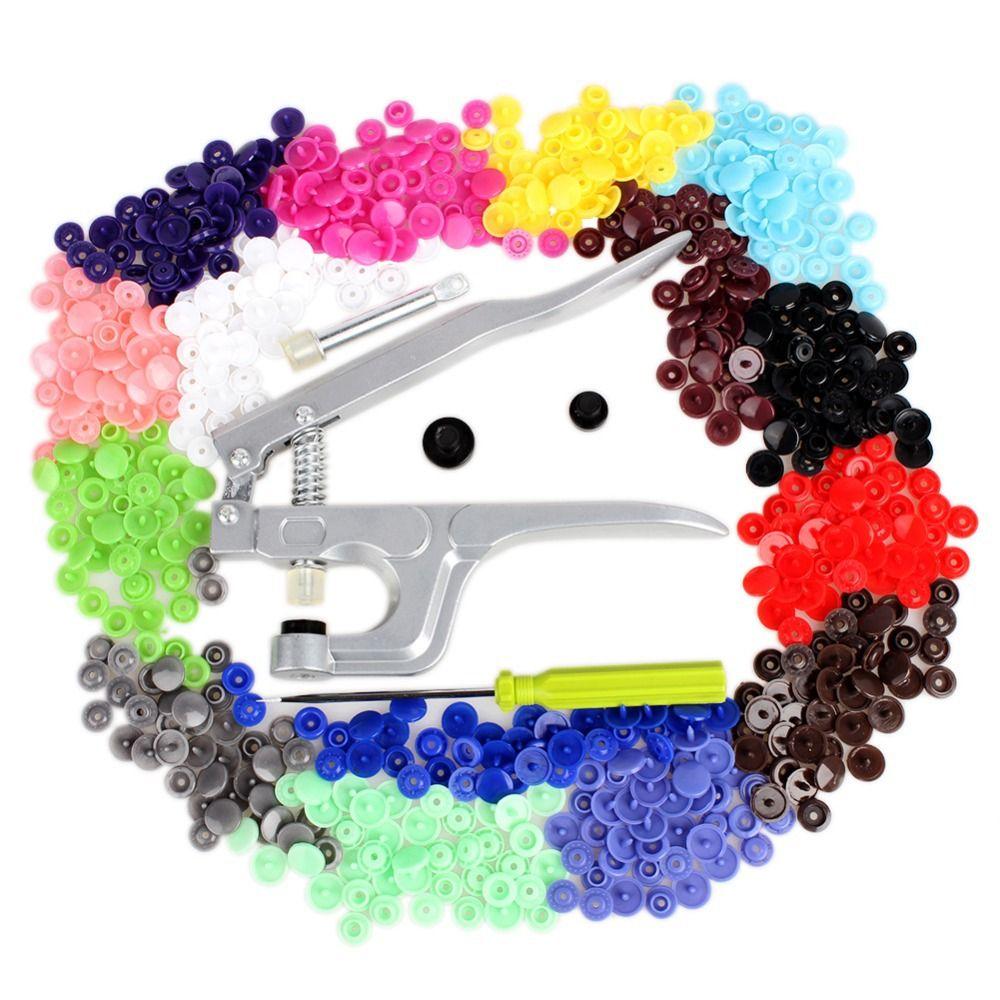 Metal Press Pliers Tools KAM Button Fastener Snap Pliers+150 set T3 T5 T8 Plastic Resin Press Stud Cloth Diaper Hoody sweatshirt