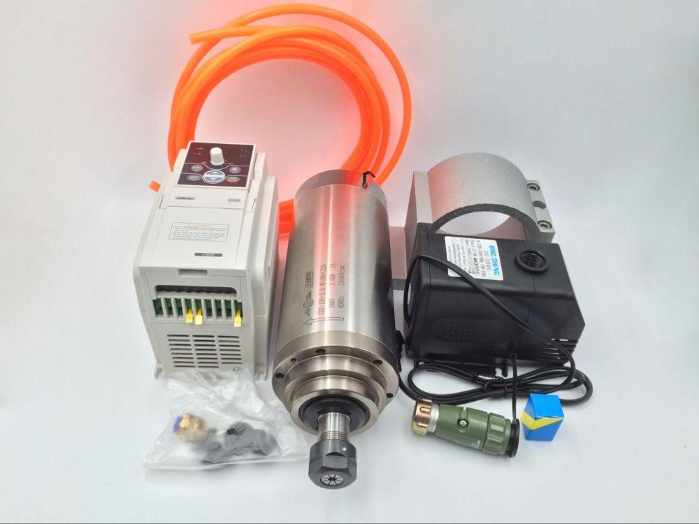 4.5KW Wasser gekühlt Spindelmotor ER20 380 V 10A 400Hz Cnc-gravur Frässpindel + 5.5KW Inverter VFD + Wasserpumpe/rohr CNC Kit