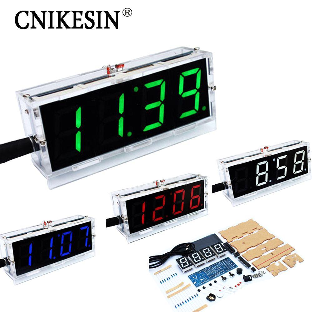 CNIKESIN bricolage horloge numérique voix horloge kits, LED bricolage SCM formation bricolage horloge électronique/montre 4 couleurs (en option