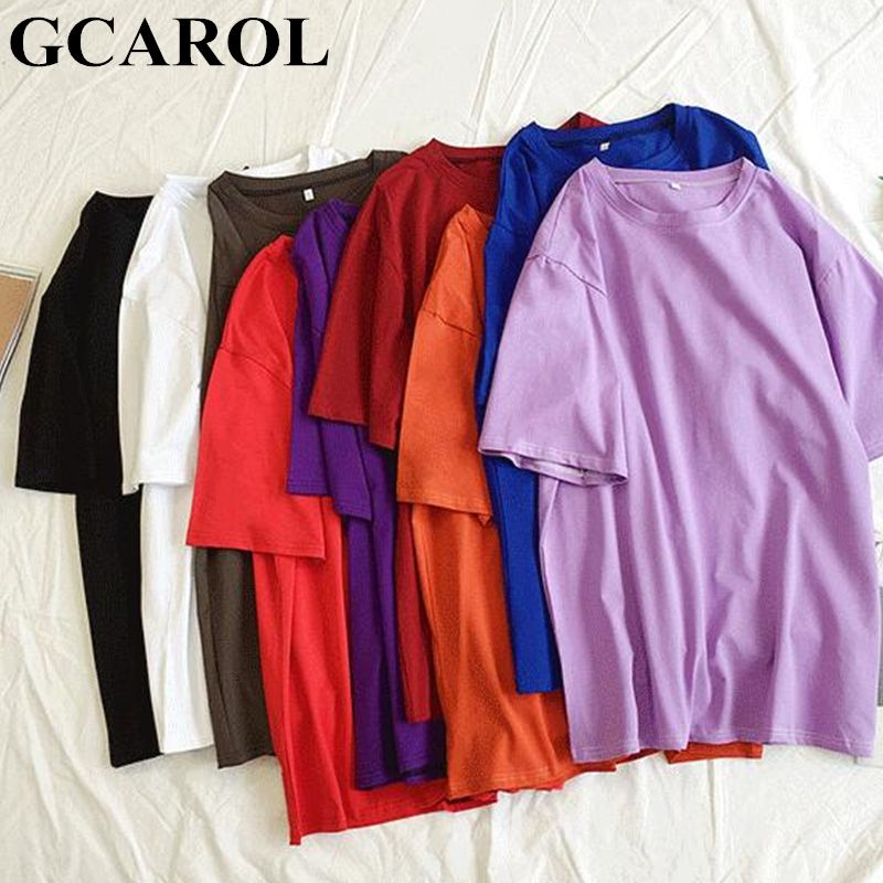 GCAROL 2019 Spring Summer Oversize Women's Candy T-shirt Handsome Streetwear Perfect Basics Tops Render Unlined Upper Garment