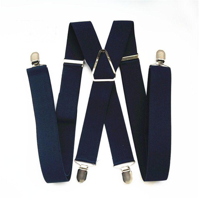 BD054-L XL tamaño mujeres elástico ajustable x volver pantalones suspender para hombres 47 pulgadas clips en azul marino