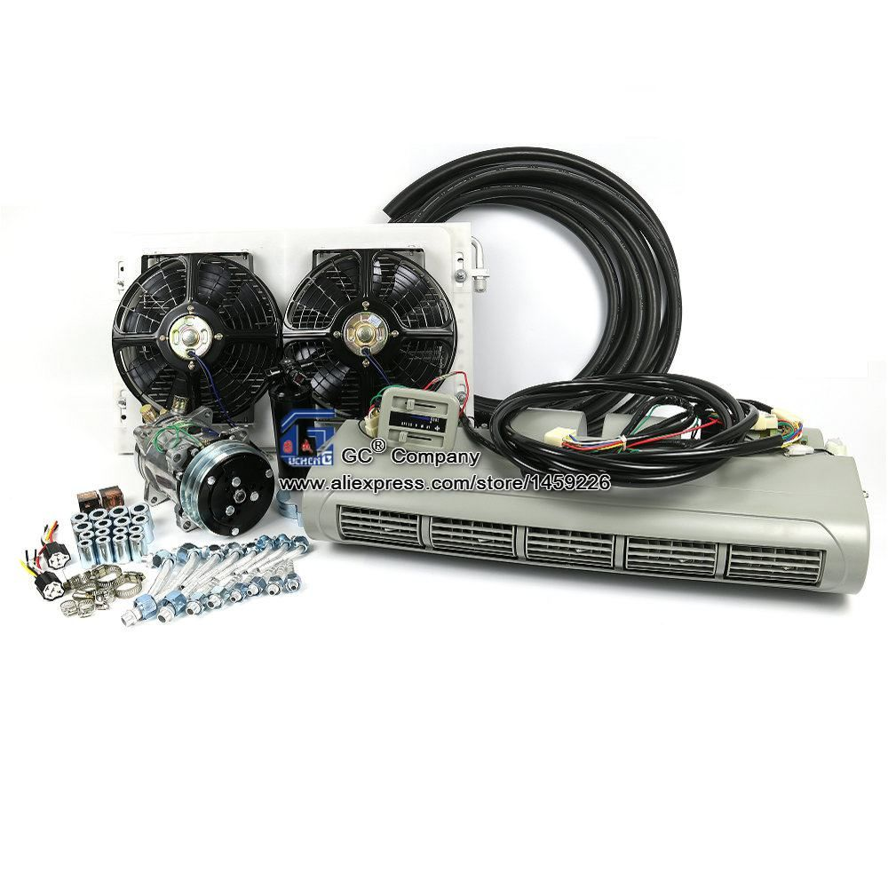 Universal A/C Air Conditioning System Evaporator Assembly Kit for Truck Bus Caravan Trailer RV Recreational Vehicle