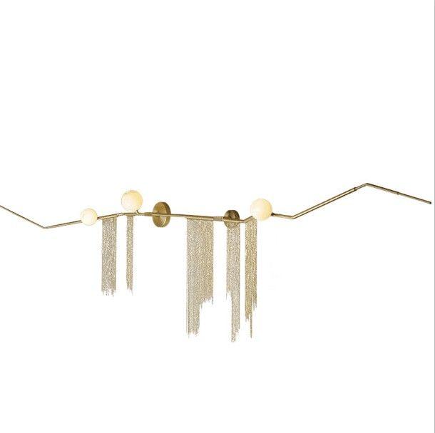 Freies verschiffen von gold aluminium mit glas wand lampe eisen kette moderne stil schöne kreative wand dekoration
