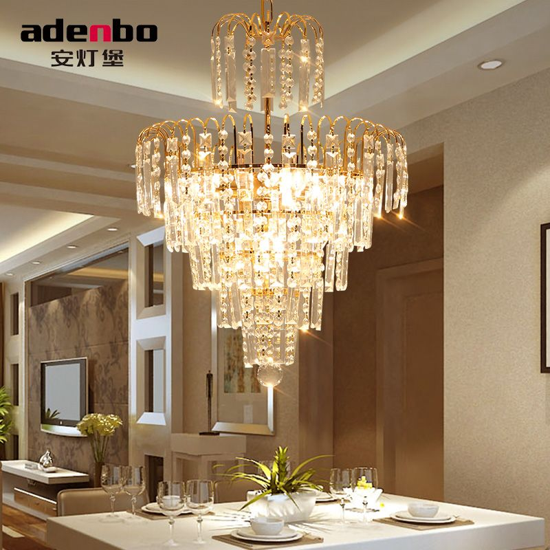 Modern Gold lustres LED Crystal Chandelier Lighting Fixtures 40cm Home Lighting Bulbs Included For Dining Room And Bedroom