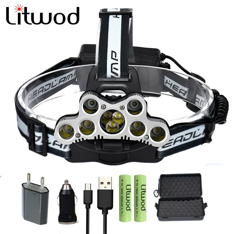 Z20 led Headlight 9 LEDs Rechargeable head lamp 6 modes adjustable use different environments <font><b>headlamp</b></font> with charger for Fishing