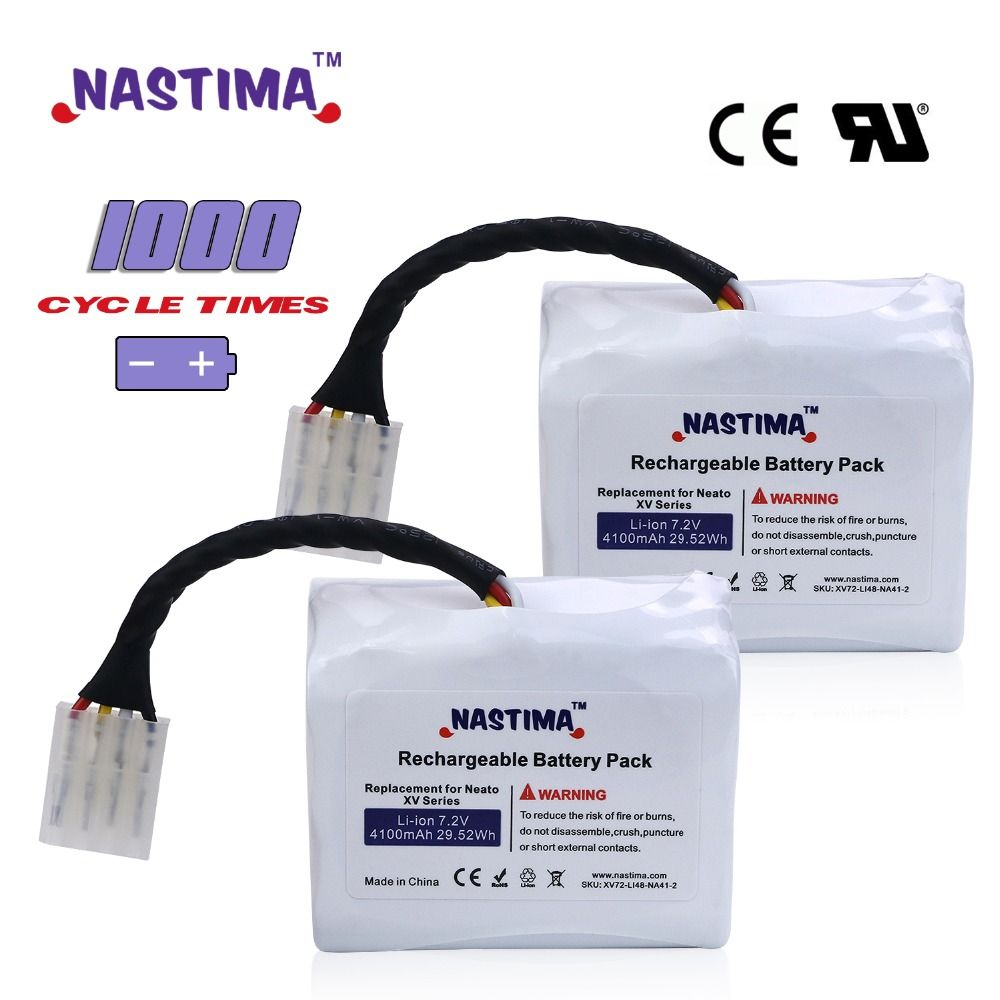 7.2V 4100mAh 2pcs Li-ion Battery For Neato XV11 XV-12 XV-14 XV-15 XV-21 XV Essential XV Signature Pro Robotic Vacuum Cleaner