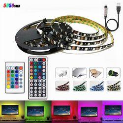 LED Light Black PCB DC 5V 5050 SMD RGB USB cable LED Strip light TV Backlight ribbon lamp remote control 1M 2M 3M 4M 5M 60Led/M