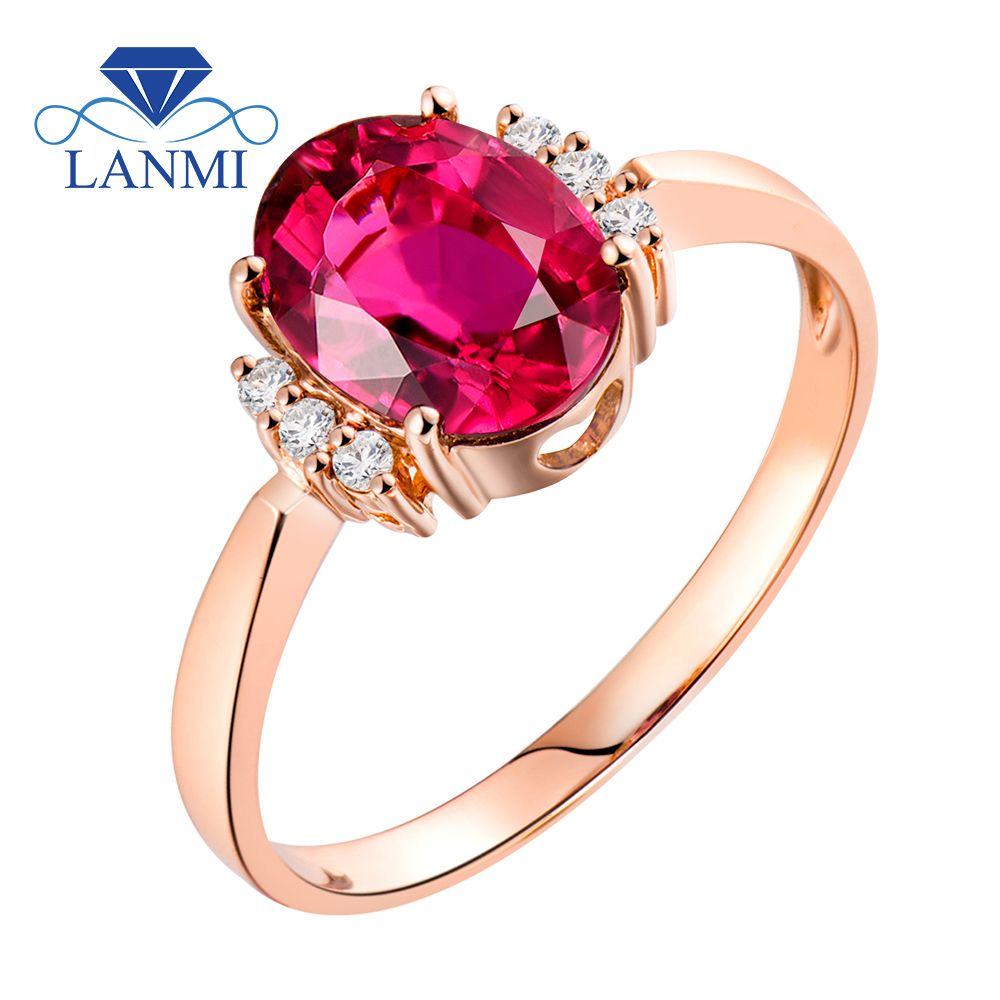 LANMI Fine Jewelry Rings For Women 14K Rose Gold Ring Engagement Diamond Natural Oval 6x8mm Tourmaline Stone Birthday Party