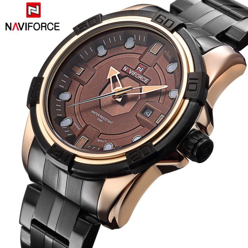 Watches Men <font><b>NAVIFORCE</b></font> Brand Full Steel Army Military Watches Men's Quartz Hour Clock Watch Sports Wrist Watch relogio masculino