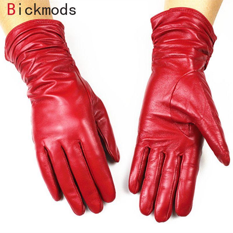 2018 femelle en cuir gants de mode style ample 30 cm longue doublure en velours automne et d'hiver chaud femme gants en peau de mouton