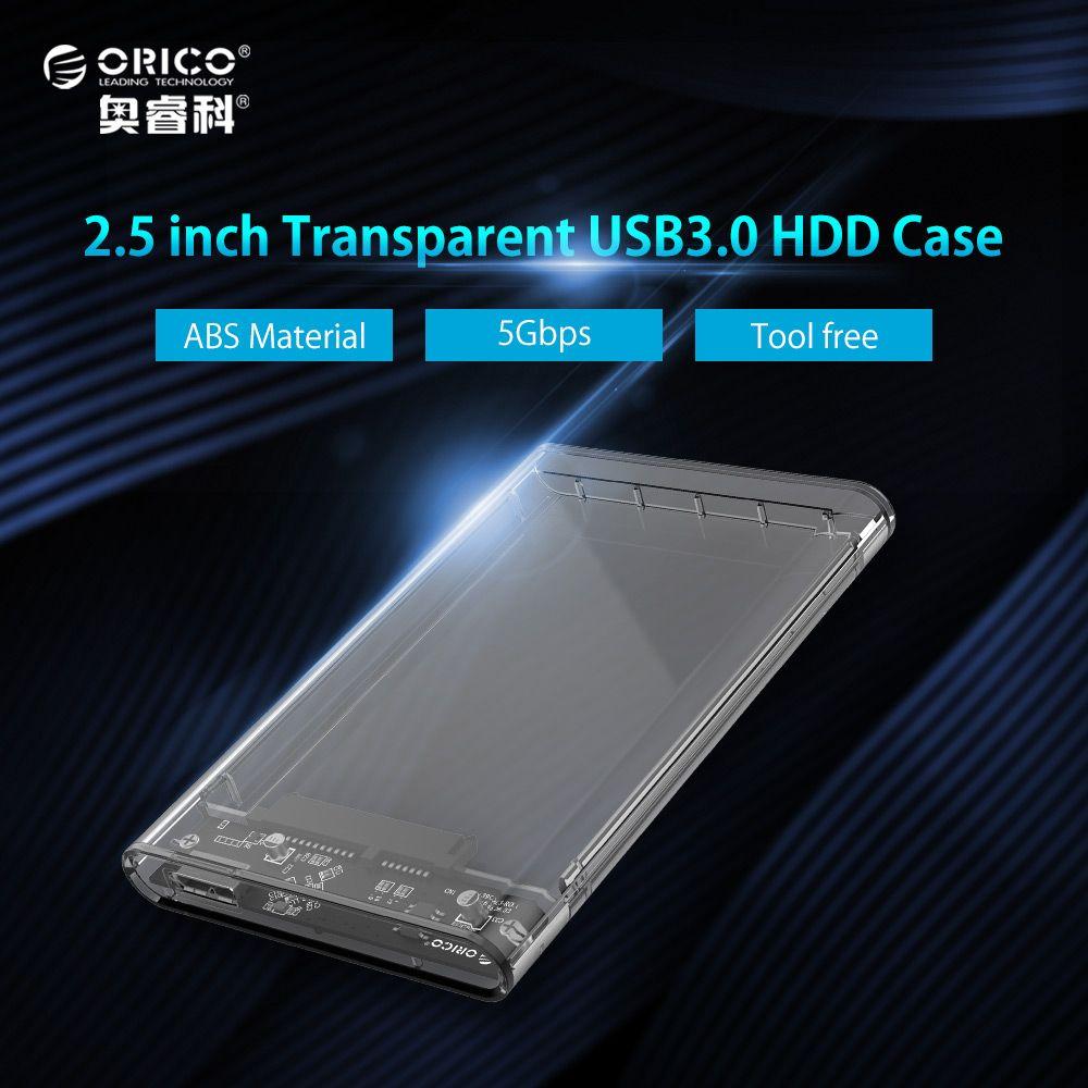 ORICO 2.5 inch Transparent HDD Case USB3.0 to Sata 3.0 Tool Free Support UASP Protocol SATA3.0 Hard Drive Enclosure
