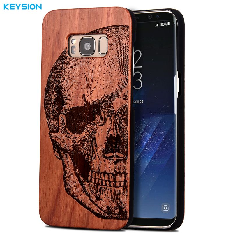 KEYSION Case for Samsung Galaxy S8 S8 Plus Original luxury Emboss solid wood and hard PC Phone cases back cover for G950 G955