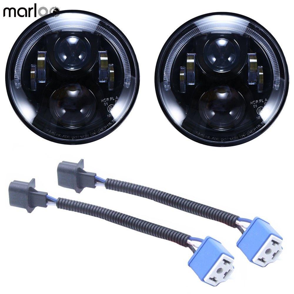 Marloo DOT Emarked (Links/Rechts Hand Stick) 7 zoll Runde LED Scheinwerfer Hohe Abblendlicht Für Jeep Wrangler JK TJ LJ CJ Hummber H1 H2