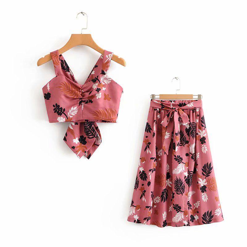 2018 fashion new tropical style printing v-neck strap short vest + printing belt skirt, women's suit