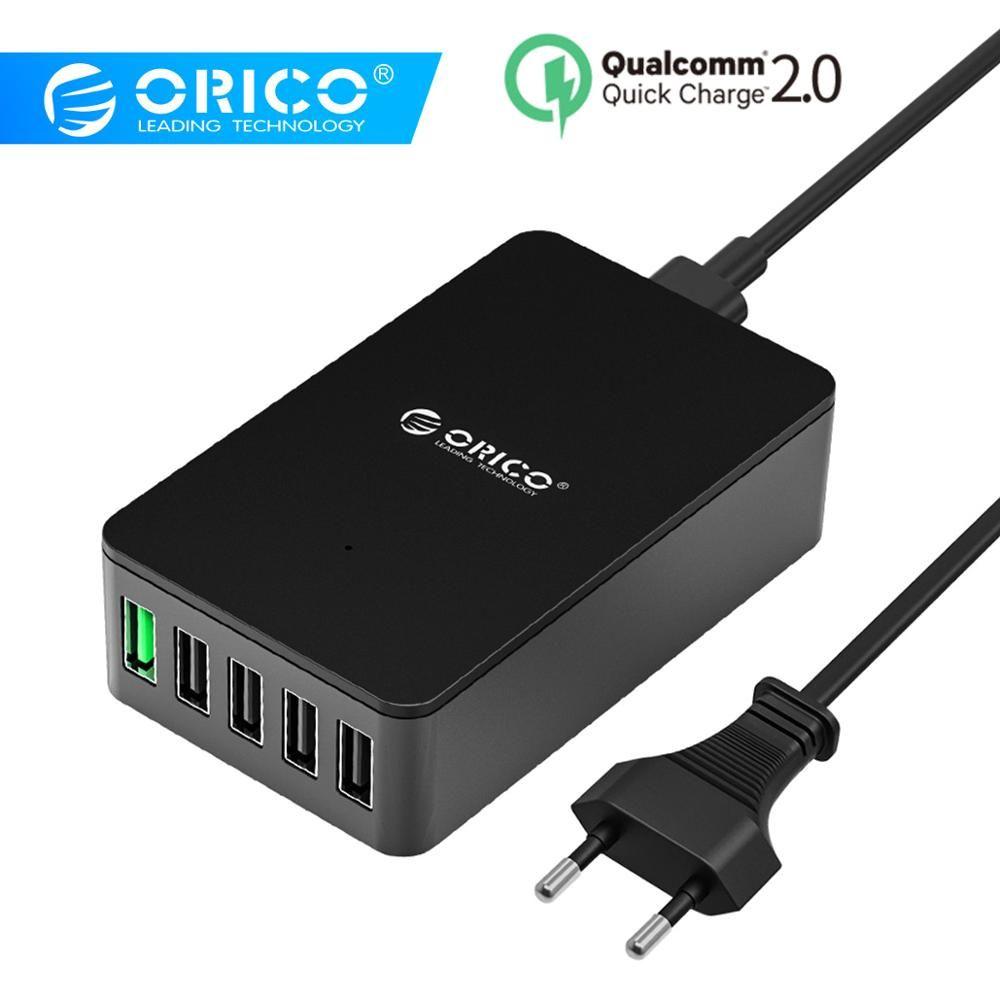 Chargeur USB ORICO QC2.0 chargeur rapide de bureau 5 Ports pour Samsung Xiaomi Huawei et tablettes avec prise EU