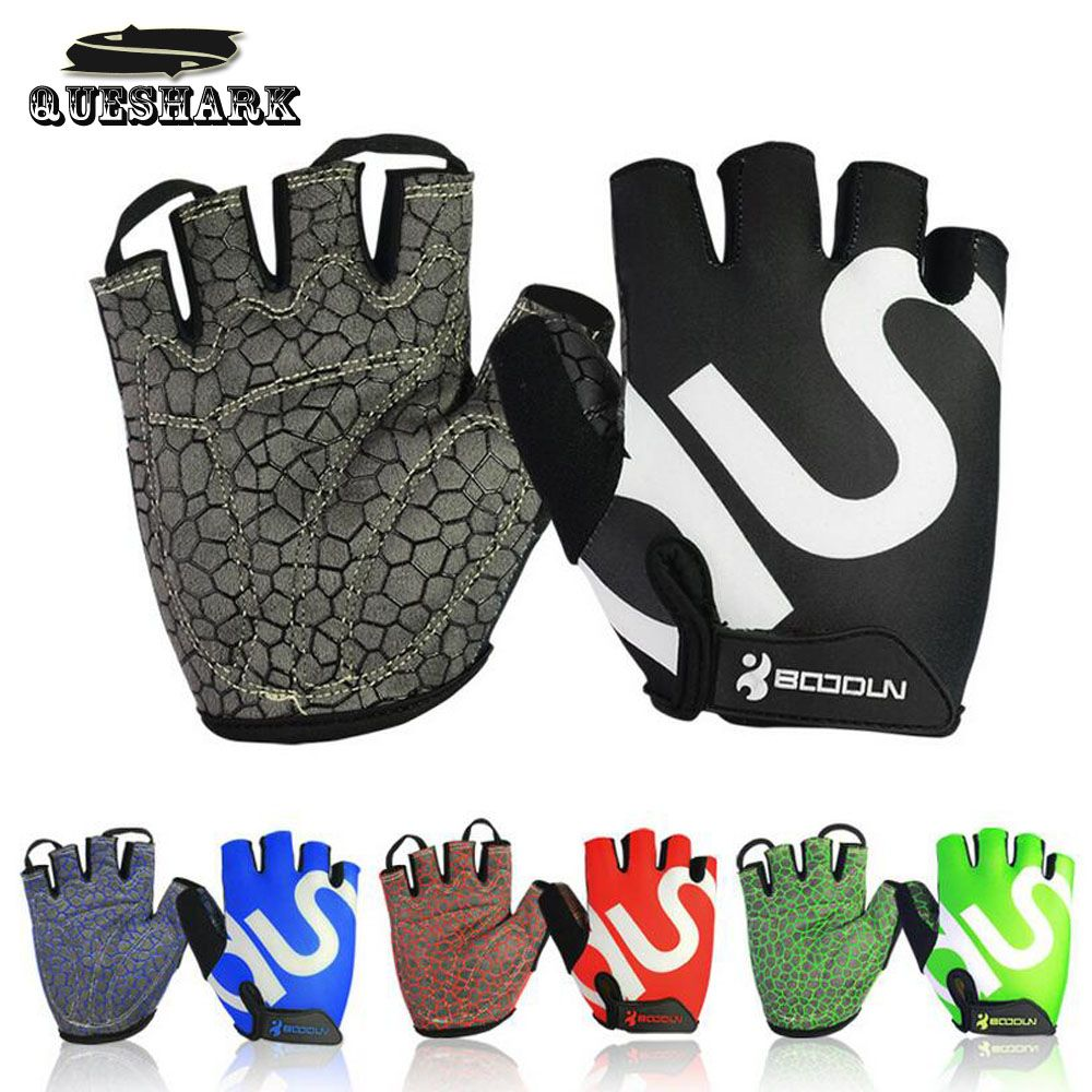 Queshark Men Women Gym Gloves Body Building Half Finger Fitness Gloves An-slip Sports Weight Lifting Gloves