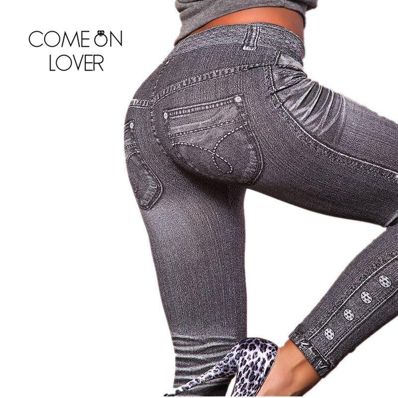 Comeonlover Travail Legging D'entraînement Gris Mode Style Denim Legging Femme Legging Tendance Super Affaire Jean Type Legging Jeans TI2418