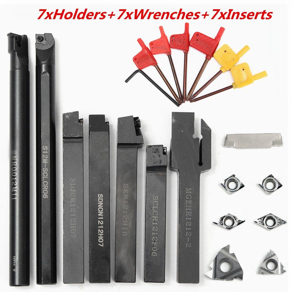 21Pcs/Set 12mm Shank Lathe Turning Tool Holder Boring Bar+ DCMT CCMT Carbide Insert + Wrench