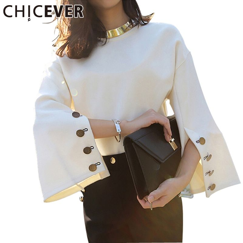 [CHICEVER] 2017 Spring Flare Sleeve Split O-neck <font><b>Lady</b></font> Female Tops Women Sweater Clothes New Fashion Korean New