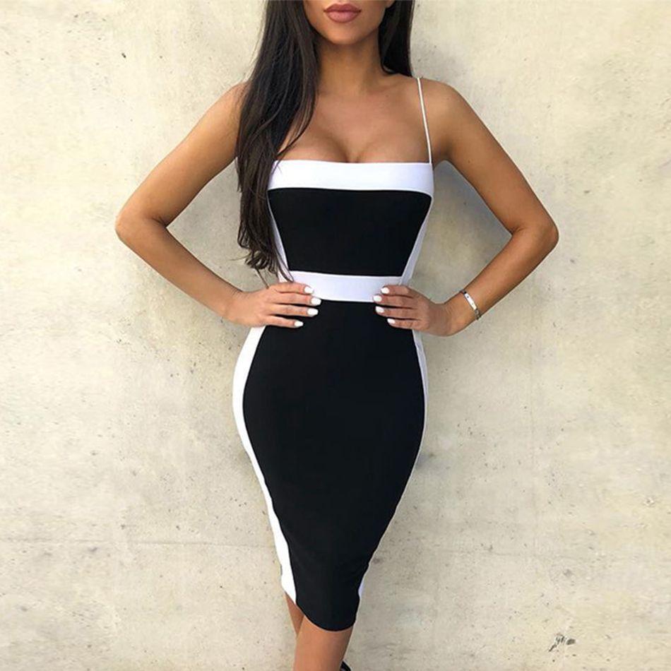 Couturière Sexy Bandage robes femmes 2019 nouveau sans manches célébrité robe de soirée élégante moulante tenue de club robe d'été Vestidos