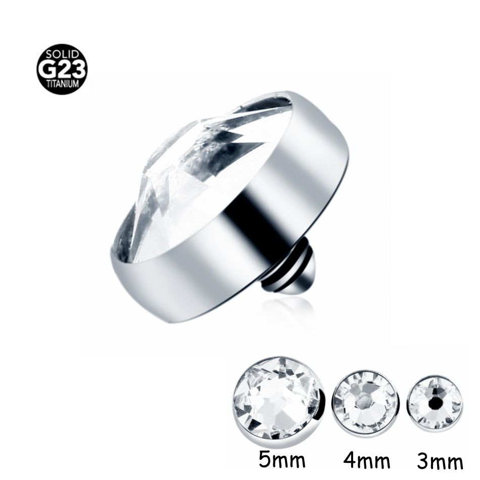 10PCS/Lot  G23 Grade Gem Top Design Titanium Dermal Anchor Piercing Body Jewelry Piercing Skin Diver Dermal Piercing