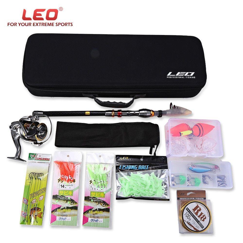 LEO 2.1/2.4/2.7/3.0/3.6M Telescopic Fishing Rod Set Spinning Reel Pole Set Fishing Combo Kit with Fish Line Lures Hooks Bag Case