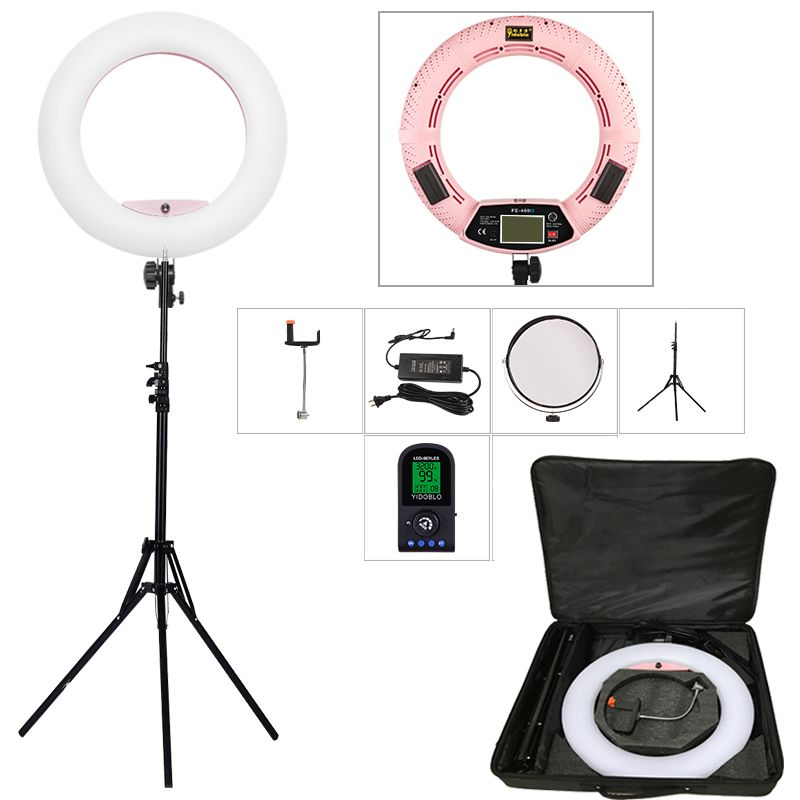 Yidoblo Pink FE-480II 5600K Dimmable Camera Ring Light 480 LED Video Light Lamp LCD RC Photographic Lighting +2M stand+bag