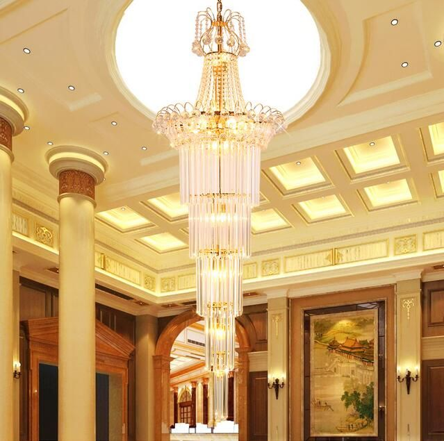 With good staircase crystal lights villas stairs hotel engineering lights crystal chandeliers SJ15 light ya74