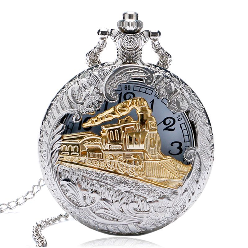 Men Women Free Drop Shipping Silver Gold Railway Locomotive Carving Steampunk Quartz Pocket Watch With Necklace Chain Gift