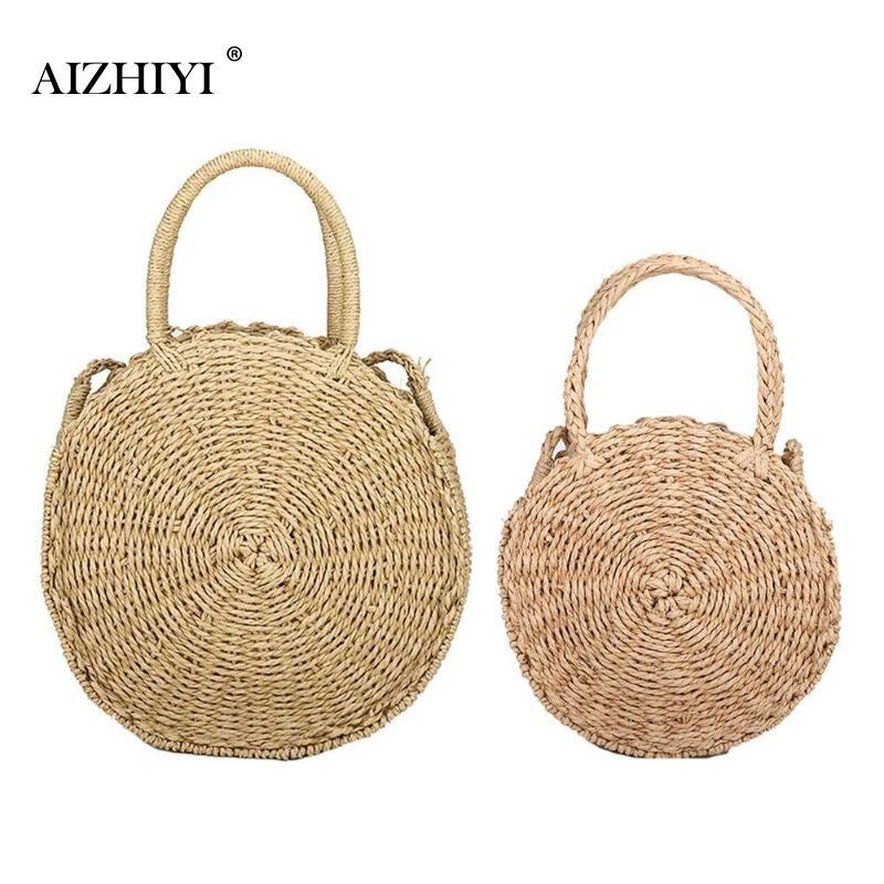 Retro Rattan Woven Straw Round Handbag <font><b>Crossbody</b></font> Chain Bag Ladies Shoulder <font><b>Crossbody</b></font> Chain Beach Messenger Bag Girl