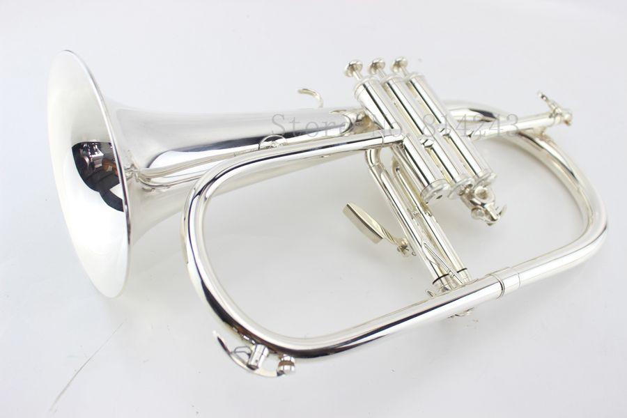 Benutzerdefinierte Flugelhorn versilbert B Flach Bb Professionelle Trompete Oberste Musikinstrumente in Messing Trompete Horn