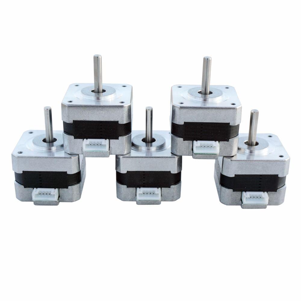 5 PCS NEMA 17 12V Stepper Motor Control 2 Phase 0.4 26Ncm 1.8 Degree Step Angle CNC