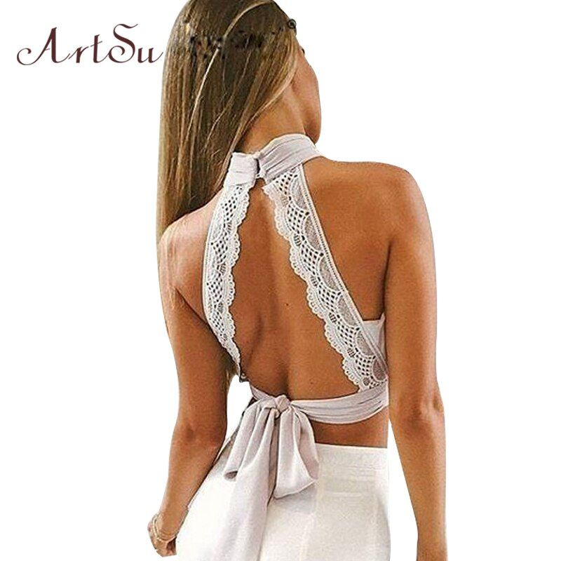 ArtSu Summer 2017 Sexy Backless Women Tanks Lace Chiffion Tank Crop Top Girls Halter Bustier Tops Bow Camis Clothing ASVE30006