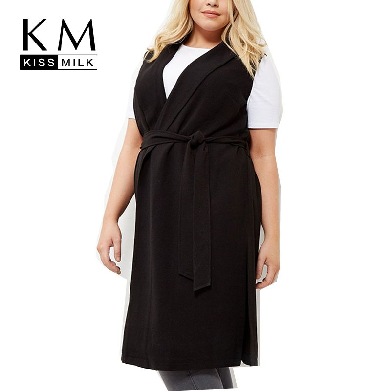 Kissmilk плюс размер платье женская одежда новая мода большой размер без рукавов черный Neck Wrap Dress тонкий халат 3XL-6XL