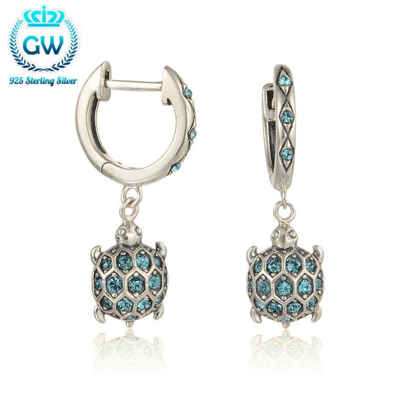 925 Sterling Silver Earrings Sea Turtle Dangle Earrings With Sparkling Rhinestone For Women Brand GW Jewellery Er1014