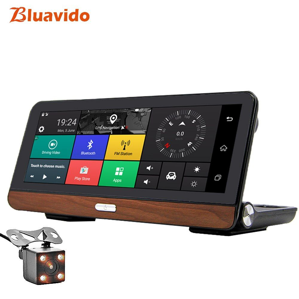 Bluavido 8 inch Android 4G Car DVR GPS Navigation ADAS Full HD 1080P Video Camera Recorder Dual Lens Car detector Remote Monitor