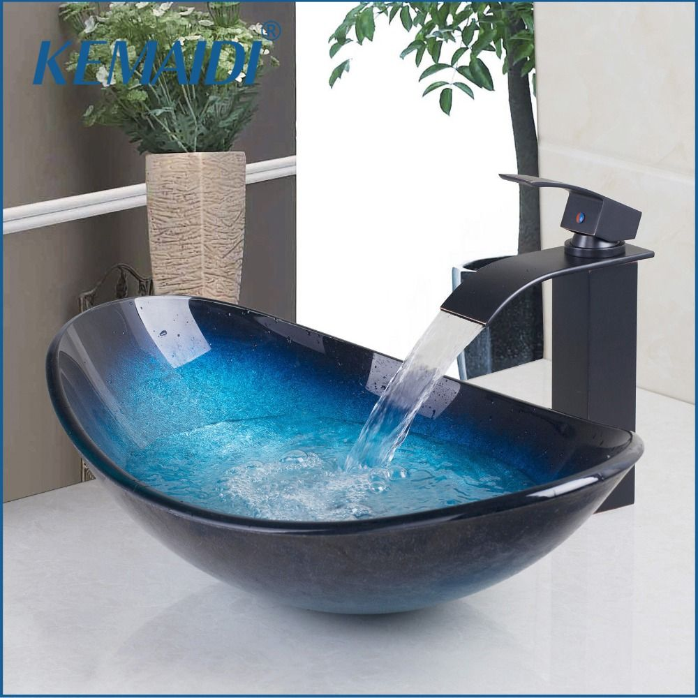KEMAIDI Waterfall Spout Basin Black Tap+Bathroom Sink Washbasin Tempered Glass Hand-Painted Bath Brass Set Faucet Mixer Taps