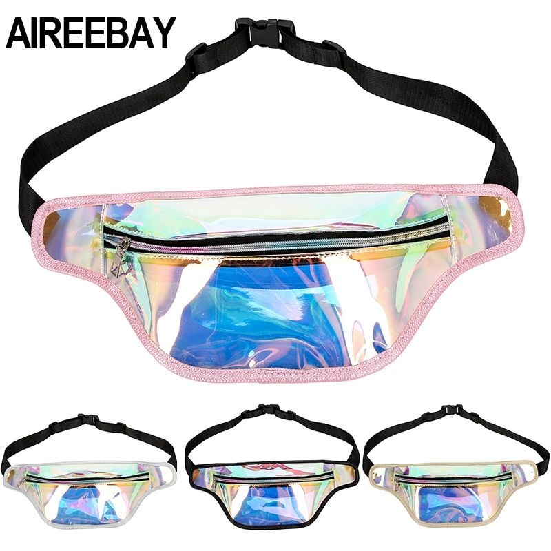 AIREEBAY Clear Waist Bag Women Transparent Fanny Pack Hologram Chest Bags Laser Big Fanny Packs for Fashion Lady Phone Purse