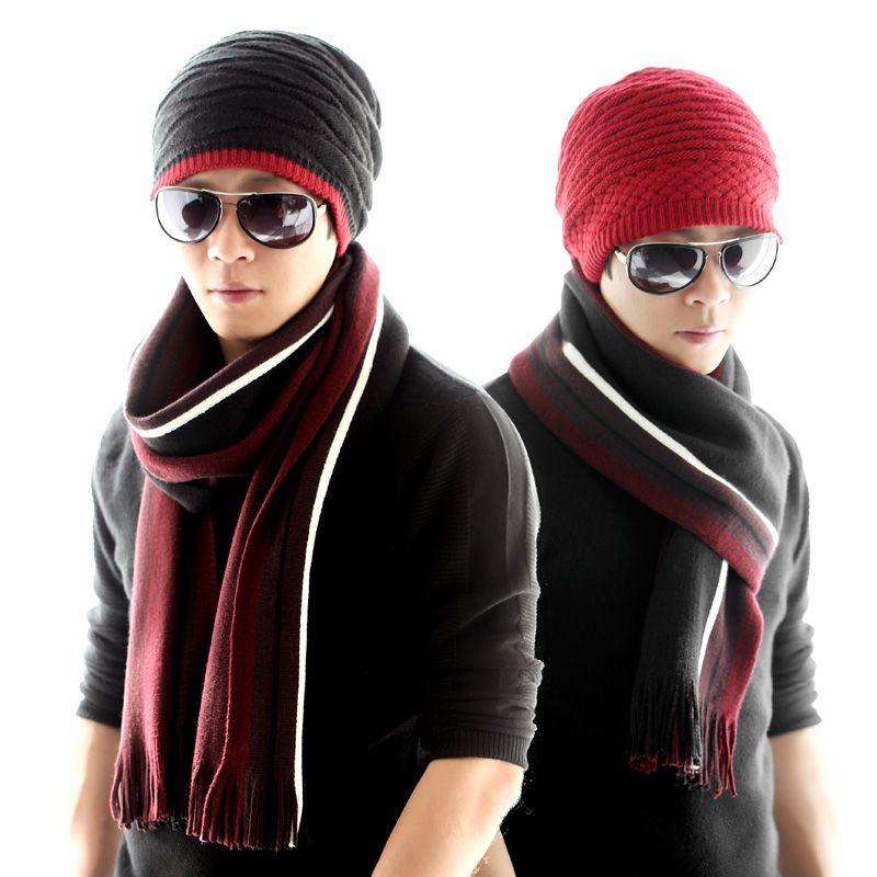 A woolen hat thickened ear long scarf two suit men's winter season. All-match warm tide