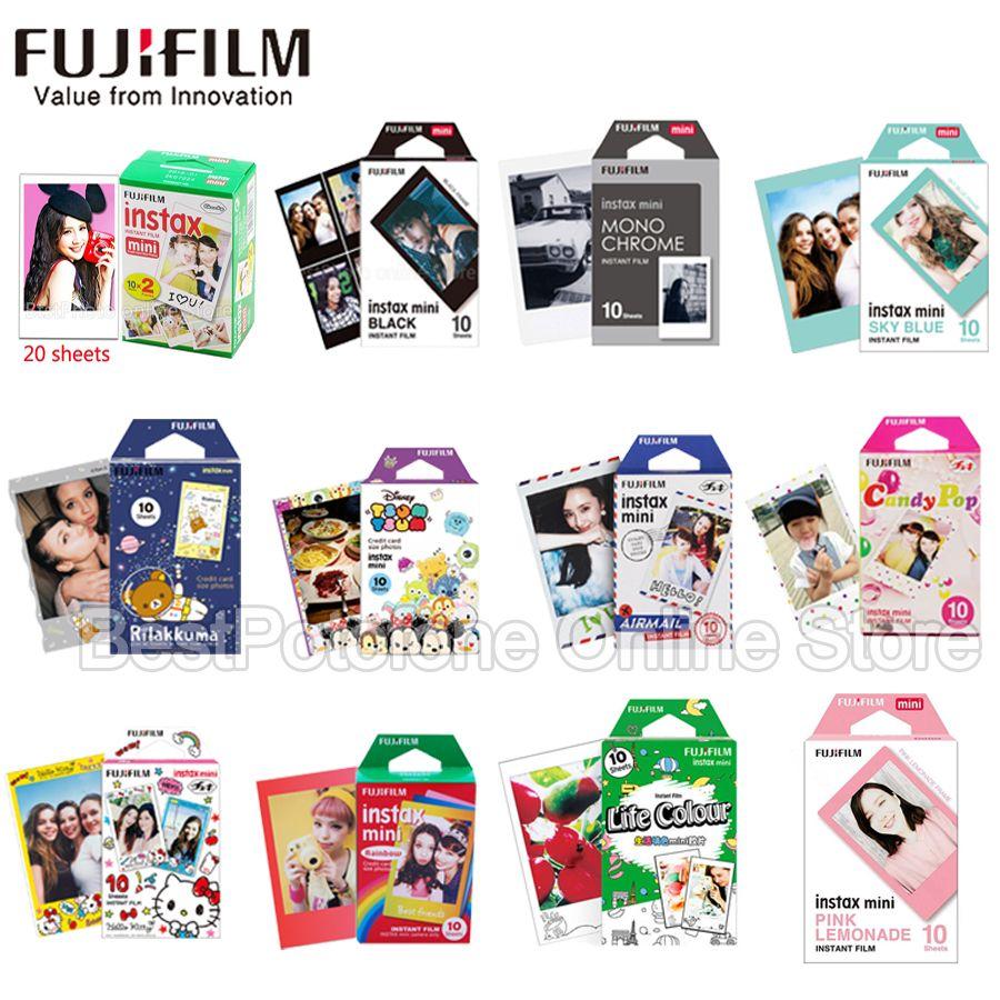 10-100 feuilles Fuji Fujifilm instax mini 9 8 films de bord blanc couleur Fims pour instax caméra instantanée mini 8 9 7 s papier Photo