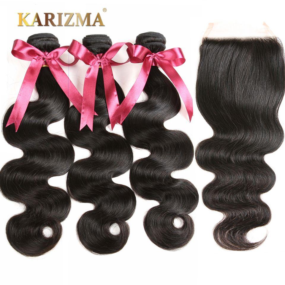 Karizma Brazilian Body Wave With Closure 4 Pcs 100% Human Hair Bundles 3 Bundles With Closure Free Part Non Remy Hair Extensions