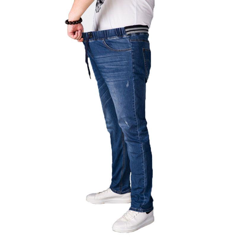 M-7XL Grande Taille Taille Haute Long Pantalon Élastique Bande Jeans Coton De Mode Pantalon Printemps Automne Mâle Doux Denim Pantalon HLX21