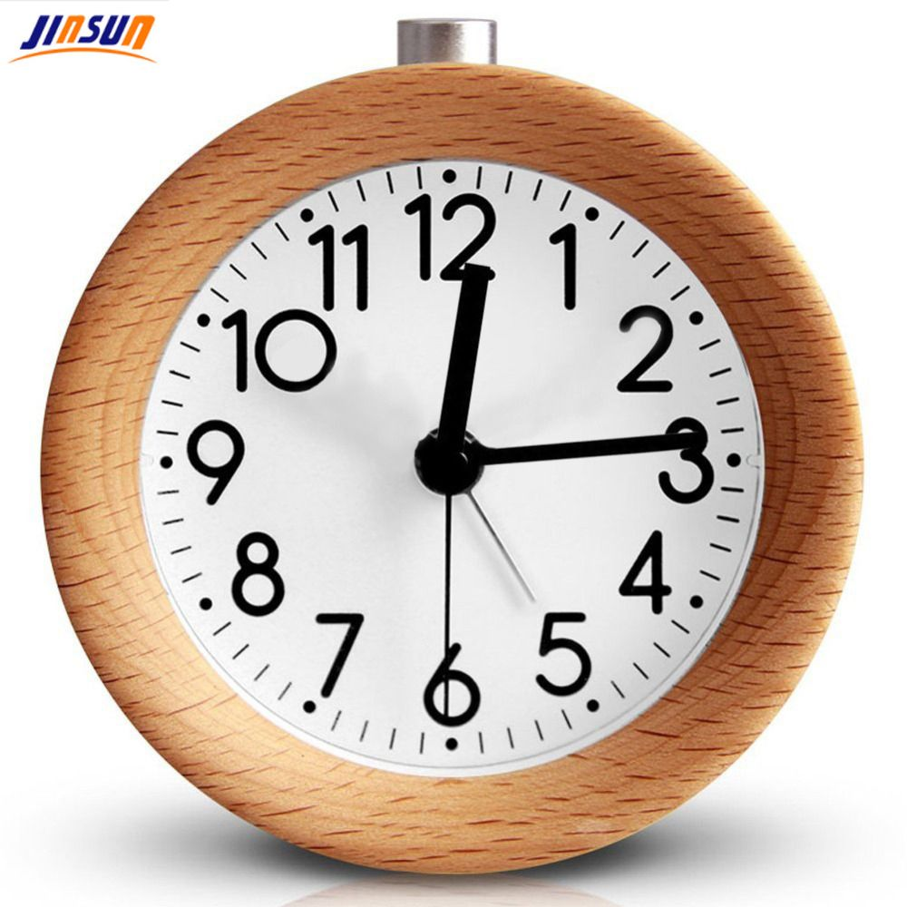 JINSUN Alarm Clock Circular No Ticking Snooze Backlight Digital Clock <font><b>Table</b></font> Clocks Wooden <font><b>Table</b></font> Clock
