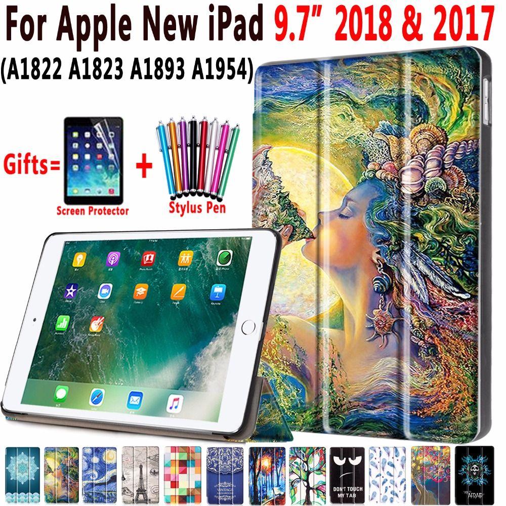 Magnetic Leather Auto Sleep Awake Smart Case Cover for Apple New iPad 9.7 2017 2018 A1822 A1823 A1893 A1954 Coque Capa Funda